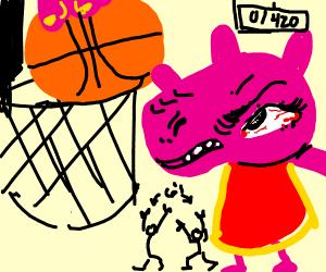 Peppa Pig dunking like a pro