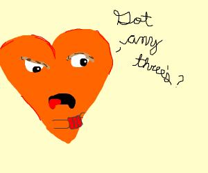 Heart orange plays cards