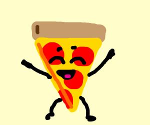 happy pepperoni pizza