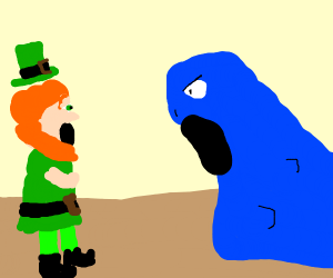 A leprechaun that's scared of an angry blob