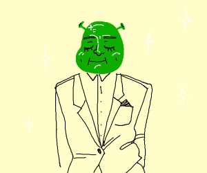 Shrek dressed up for a night out.