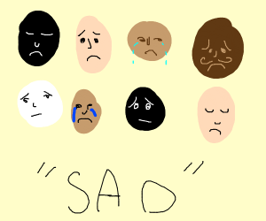 many sad black/white faces (not racist)