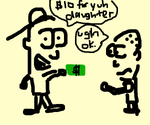 man taunting other man using money