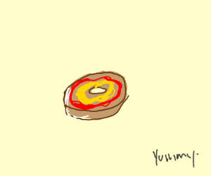 Ketchup and mustard on a bagel