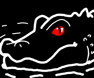 Alligator outline with red eyes