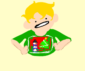 Kid confident in ugly sweater