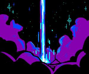 Pillar of light pierces night sky