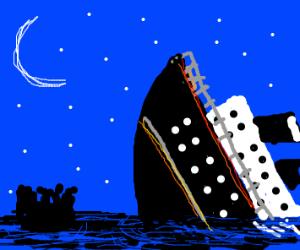 Survivors watch the titanic sink