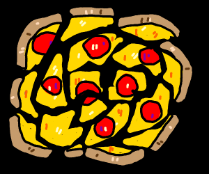 Shattered pepperoni pizza
