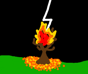 Tree set aflame by lightning in autumn