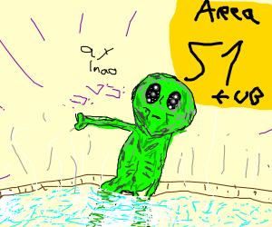 Alien chillin in a hot tub