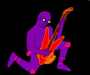 A purple guy playing a Flying V red guitar