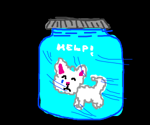 Cute Cloud Kitty Stuck In Glass Jar
