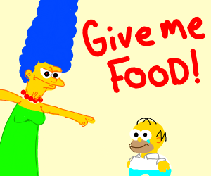 Giant marge demands food from midget Homer