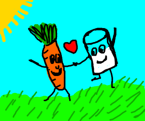 Milk and carrot running away together