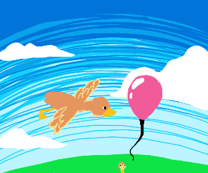 Let's Go Of Balloon And It Passes Flying Duck