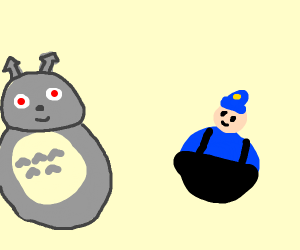 evil totoro and fat police man