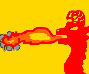 A dragon lighting a campfire