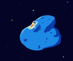 Human on a meteoroid