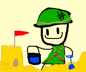 Soldier playing in the Sand