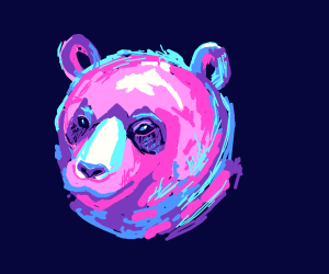 The head of a pink bear