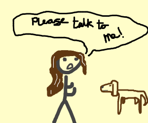 Brown dog doesn't want to talk with