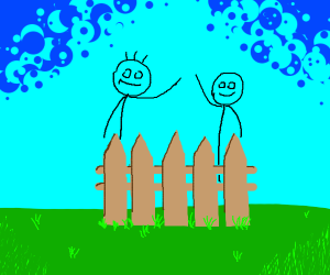 Two stick men behind a wooden fence