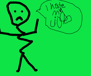 a wavy stick figure who hates his job