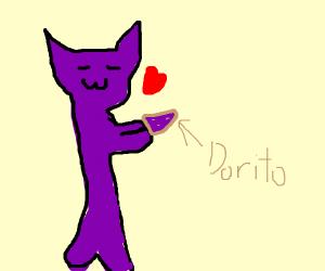 Purple demon loves purple Doritos