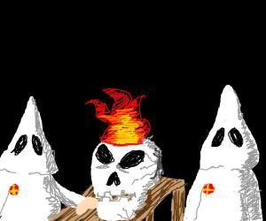 A skull in a gang is on fire, TWICE.