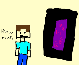 a minecraft man going into a portal