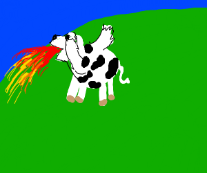 flying cow spits fire
