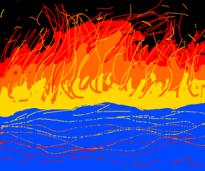waves capped with flames
