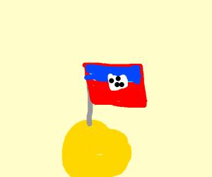 Haiti flag on a ball of cheese