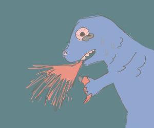 Dino eats chili