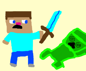 Steve hits up a confused Creeper