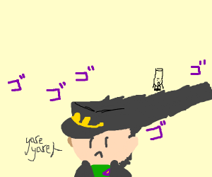 Massive hair menacing Jotaro