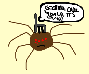 spider with a chair on head about to die