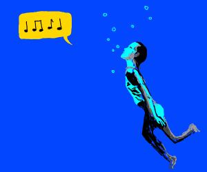 man sings in water