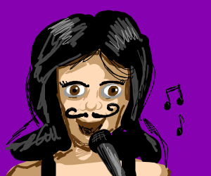 girl with mustache sings