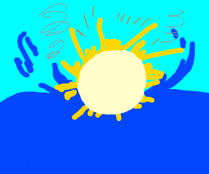 sun crashes into water