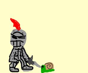 Knight fighting a snail