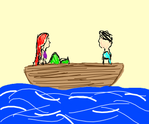 Dude and mermaid on a boat