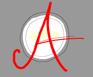 A big letter A on a circle