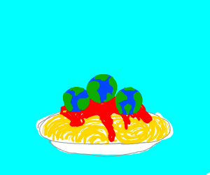 Spaghetti but the meatballs are earth