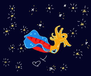 A squid in a starry night sky