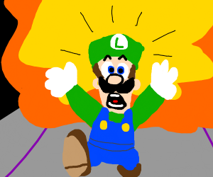 Luigi runs from explosion in Super Smash Bros