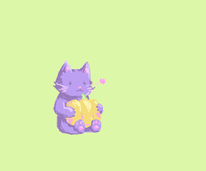 Purple cat holds a pumpkin