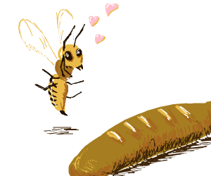Bee falls in love with stick of French bread.