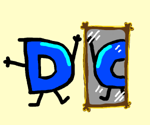 D looks at a mirror